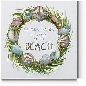 Renditions Gallery Christmas, Canvas Wall Art, Holiday Décor, Santa Workshop, Elves, North Pole, Frosty The Snowman, Jingle Bells, Wreath -Better Beach-16X16