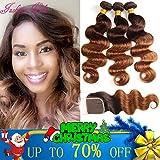 2 Tone Ombre Hair 3 Bundles With Closure Brazilian Virgin Hair Body Weft Human Hair Extensions T4/30 Medium Brown/Medium Auburn(18 20 22with16)