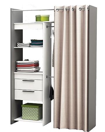 Begehbarer Kleiderschrank Vorhang Schrank weiss Wandschrank variable ...