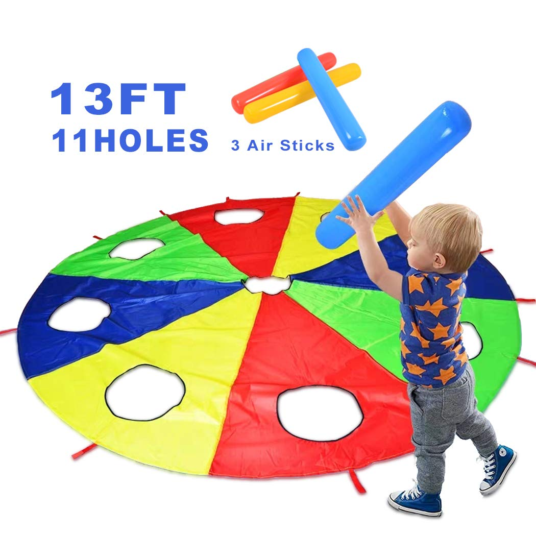 HAPPYMATY Rainbow Umbrella Parachute 13 Foot with 10 Handles for Kids,Play Parachute Outdoor Games(Whack a Mole) Activities Toys with 3 Air Sticks 4M/13FT