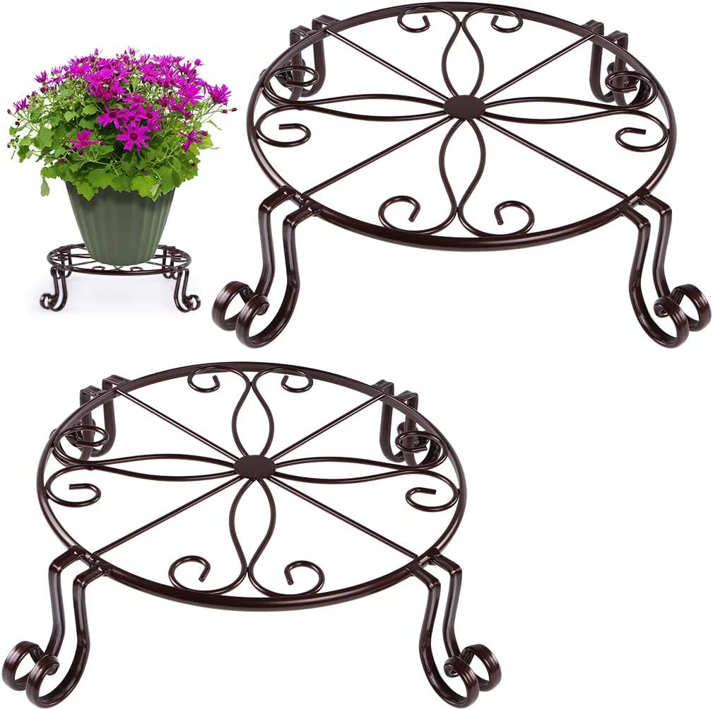 Sanbege Potted Plant Stand, 11.8 Inches Flower Pot Holder, Metal Planter Rack for Home Decor, Pack of 2(Bronze)