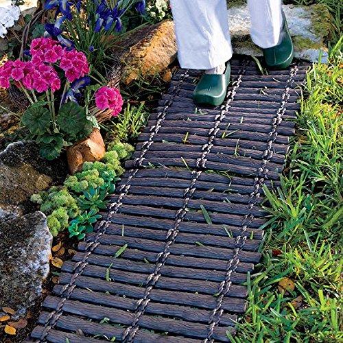 Set of 2 Interlocking Wood Look Rubber Garden Pathway Walkway Outdoor Lawn Landscape (Rubber Walkway)