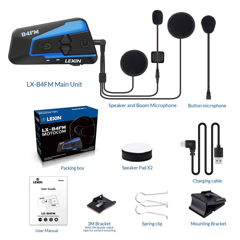LEXIN 2pcs LX-B4FM Motorcycle Bluetooth Intercom with FM Radio Motorcycle Helmet Bluetooth Headset Communication With Noise Cancellation Technology Up to 4 Riders for Motorcycle//Off-Road