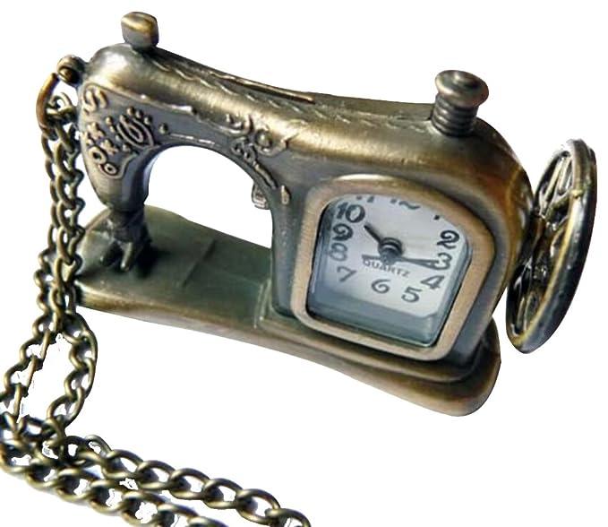 HorBous Reloj de bolsillo de bronce retro vintage reloj de cuarzo relojes collar con caja de