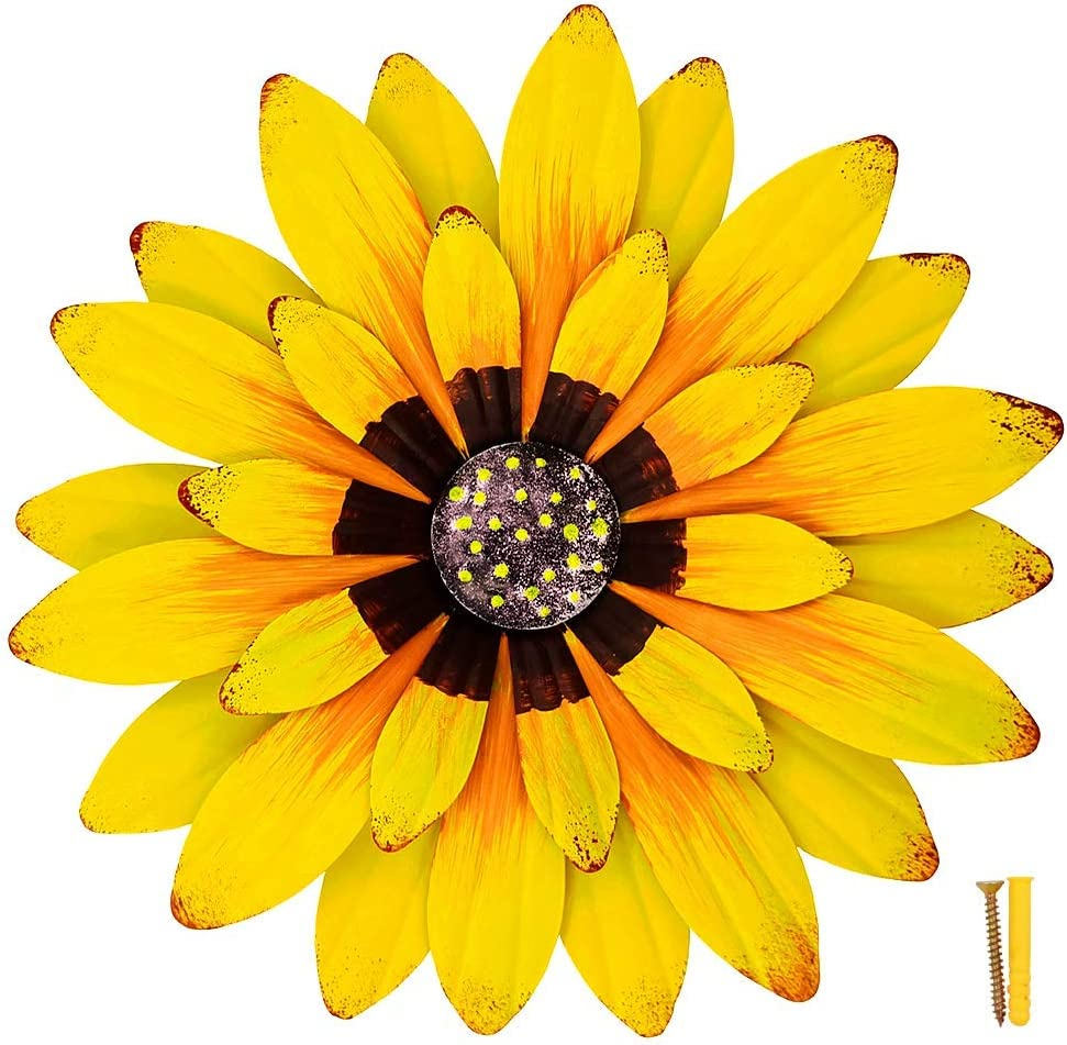 ZOOLMEEAN Large Metal Flower Wall Art Decor Retro Iron Sunflower Sculpture Garden Hanging Decoration for Balcony Patio Porch Home Yard Indoor Outdoor 12 Inch, Yellow A