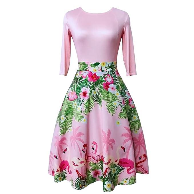 Rosa VINTAGE DRESS Media Manga Otoño Retro vestido de mujer más sexy vestidos túnica Feminino Rockabilly