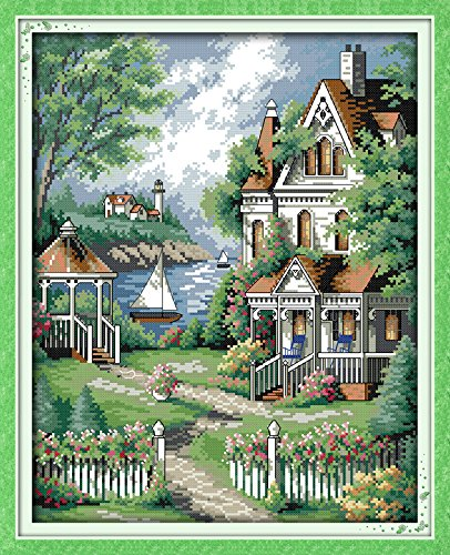 Joy Sunday Cross Stitch Kits 11CT Stamped European-style villa 17.7