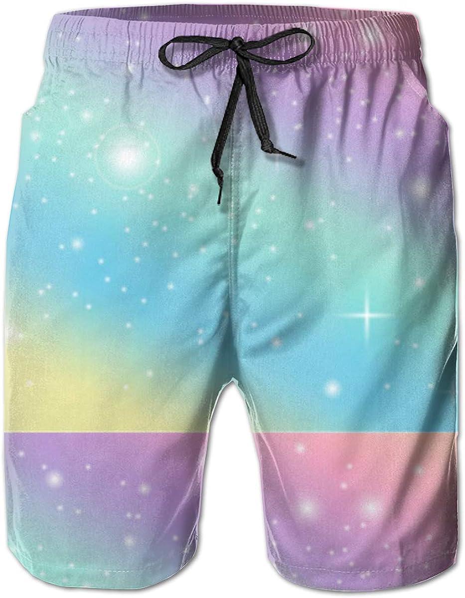 Rainbow Pastel Mens Summer Beachwear Sports Running Swim Board Shorts Mesh Lining