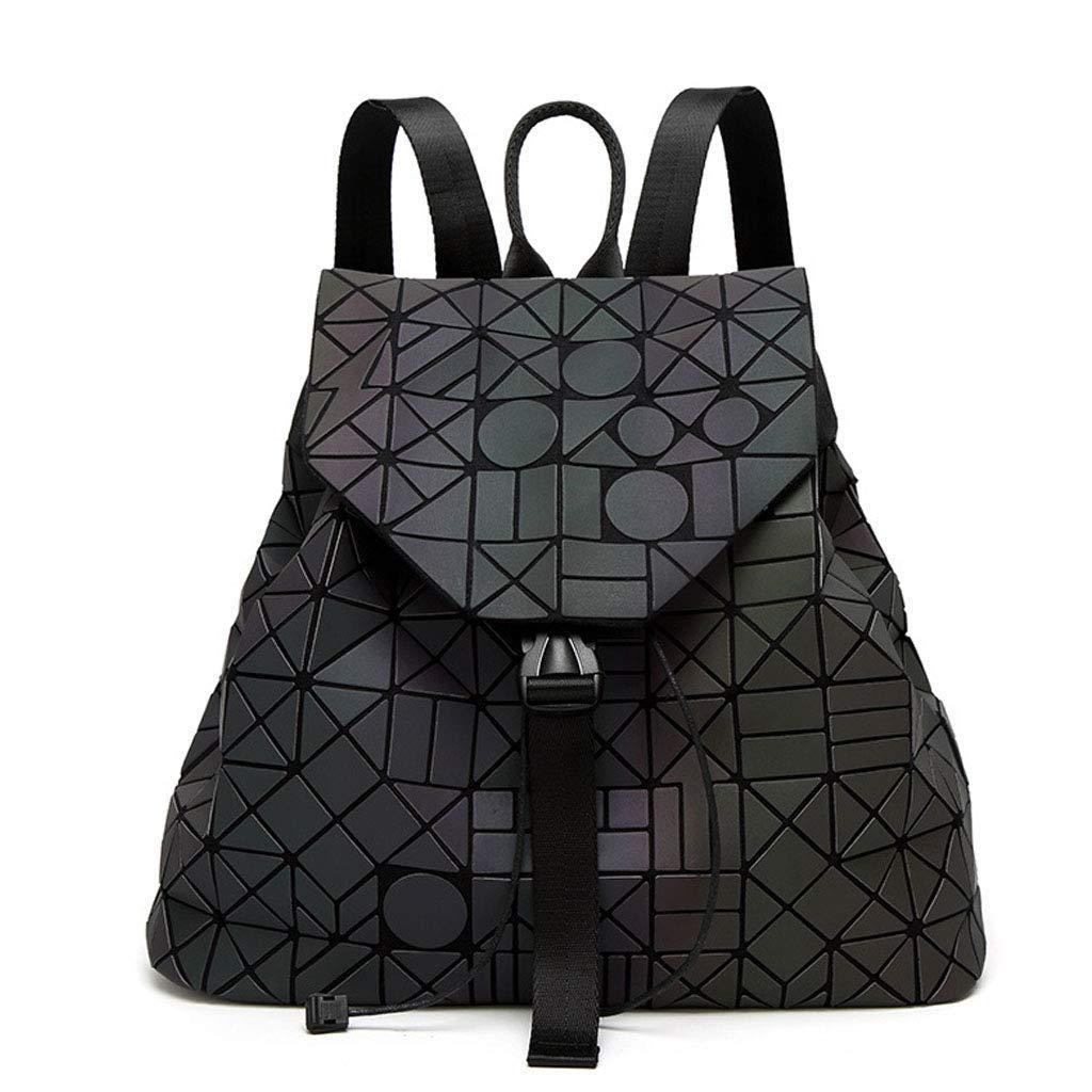 WGKUMMQN Frauen Geometrische Leuchtende Rucksack Handtasche Damenmode UmhäNgetasche Lingge Flash Reiserucksack
