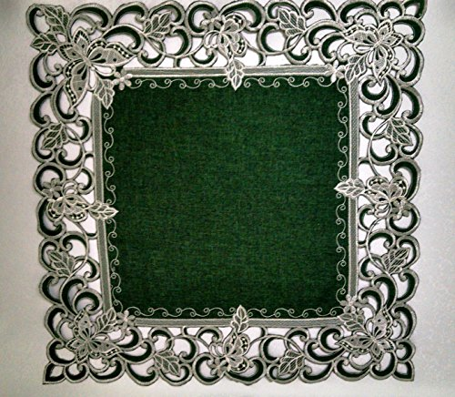 Doily Square with White Butterflies on Hunter Green Burlap Linen Fabric, Size 23 inches (Hunter Lamp Green Table)