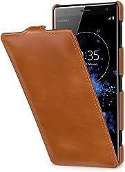 StilGut UltraSlim Case, Custodia Flip Case per Sony Xperia XZ2 in Vera Pelle, Cognac