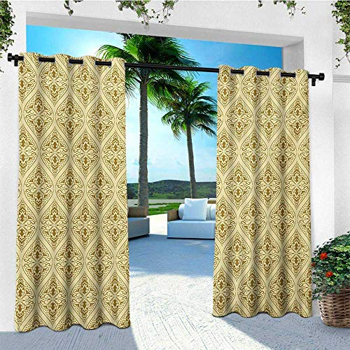 leinuoyi Damask, Outdoor Curtain Panel Design, Victorian Vintage Royal Ornamental Tiles Middle Age Renaissance Pattern, Outdoor Patio Curtains W108 x L96 Inch Pale Yellow Amber