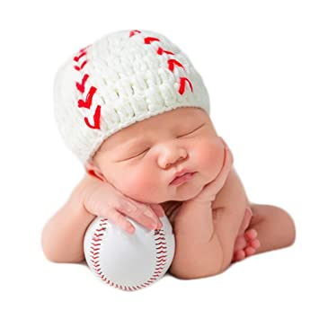 f1d10591d6ad1 Baby Photography Props Baseball Cap Newborn Boy Girl Photo Shoot Outfits  Crochet Costume Infant Knitted Hat