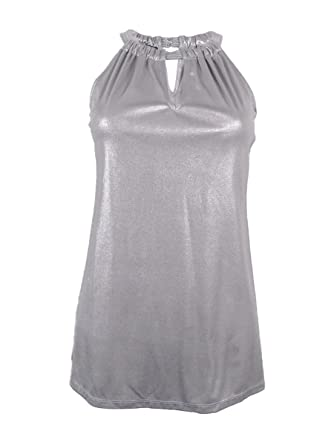 716f18d12f4 Amazon.com: INC International Concepts Women's Metallic Keyhole Halter Top  (M, Silver): Clothing