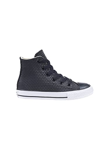 4a8b8888fb37 Converse CTAS Junior Rubber Embossed Hi-Top Sneaker 5 Black