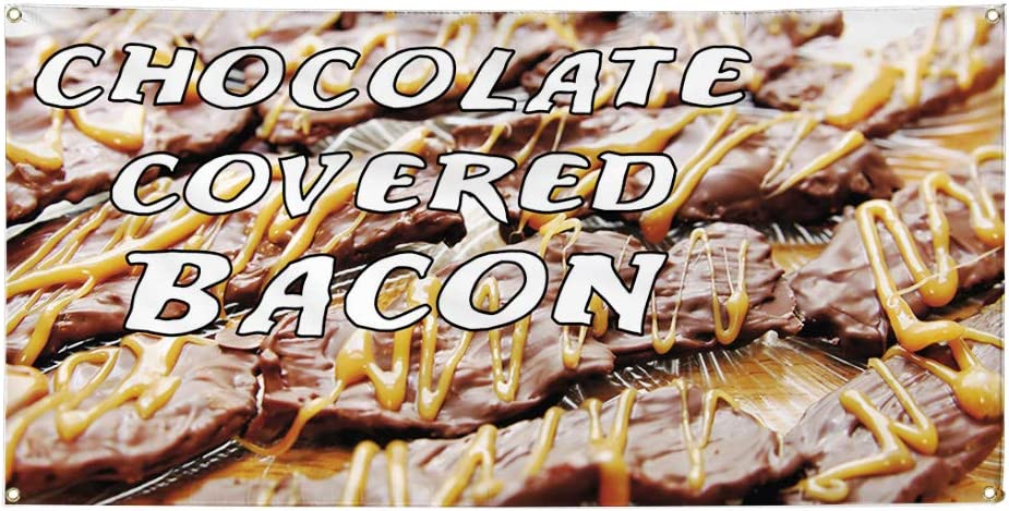 Set of 2 28inx70in Multiple Sizes Available Vinyl Banner Sign Chocolate Covered Bacon #1 Style A Outdoor Marketing Advertising Brown 4 Grommets