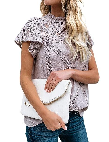 Amazon.com: WLLW - Blusa de encaje para mujer, manga corta ...