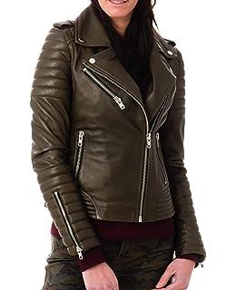 Black L-3300 Redline Womens Angled Zipper Goat Leather Motorcycle Jacket