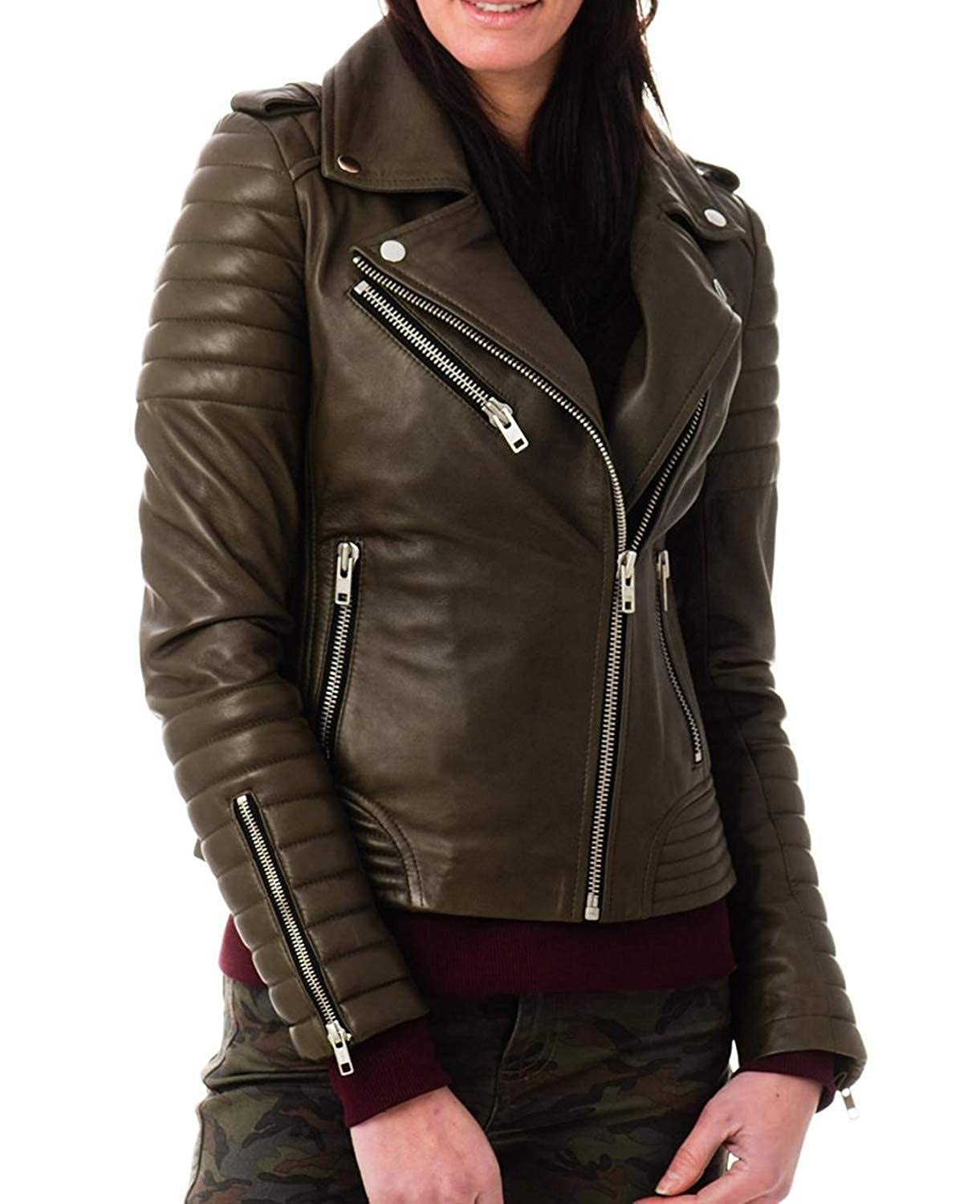 a21cb5e4e New Women's Soft Lambskin Olive Leather Bomber Biker Jacket at ...