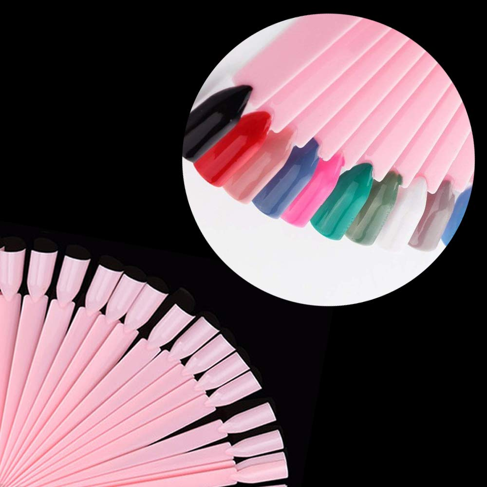 Hekoy 100pcs Fake False Nail Tips Display Nail Art Polish Display Practice Sticks Salon Nail Art Tools with Metal Split Ring Holder
