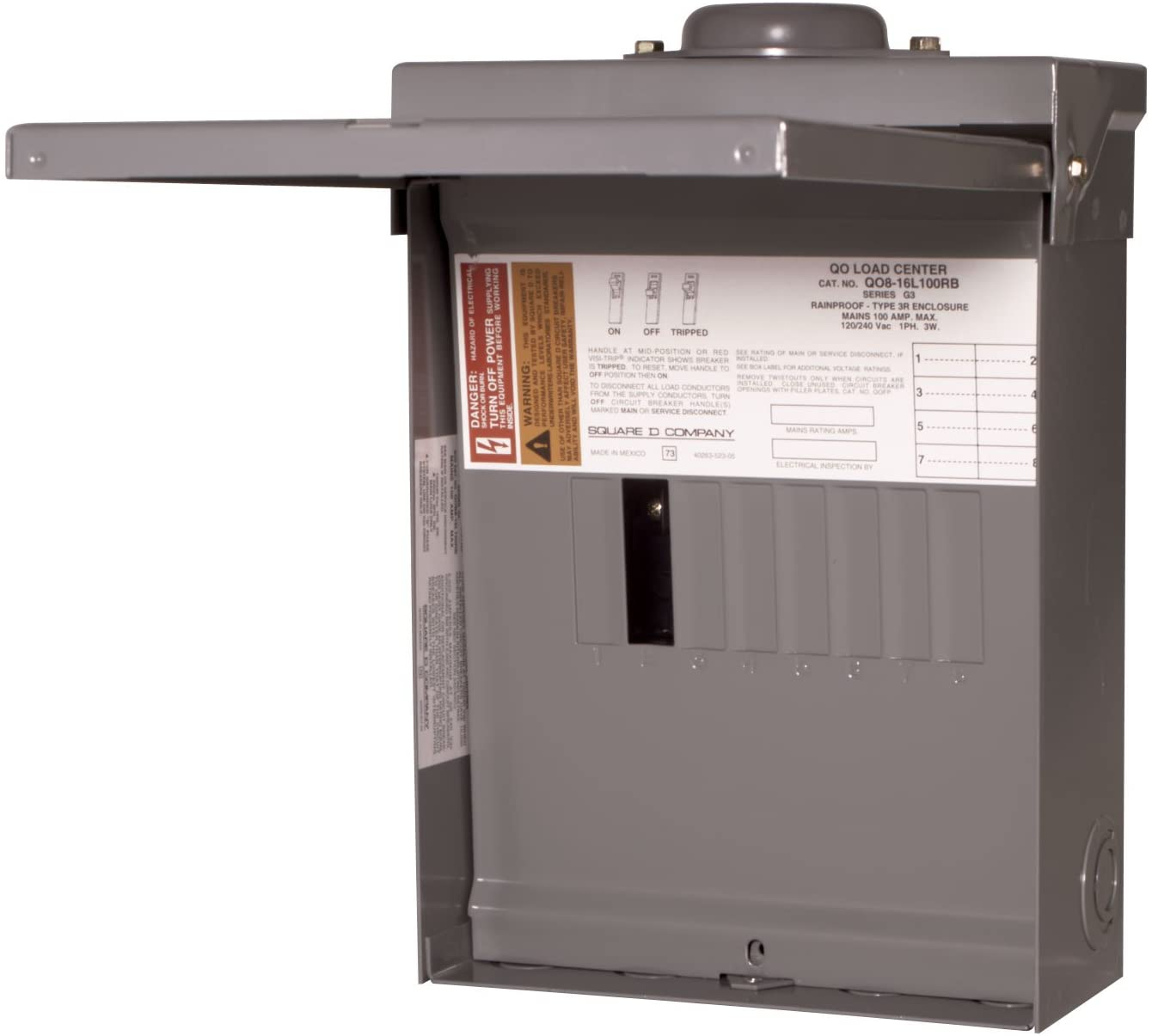 Square D by Schneider Electric QO816L100RBCP QO 100 Amp 8-Space 16-Circuit Main Lug Outdoor Load Center with Cover - Square D Qo Systems -
