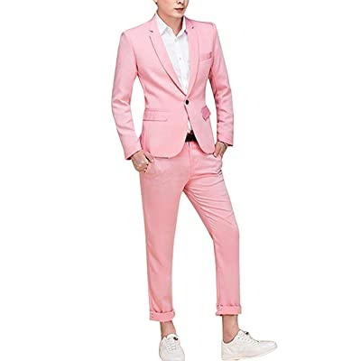 Cloudstyle Men's Suit Single-Breasted One Button Center Vent 2 Pieces Slim Fit Formal Suits at Amazon Men's Clothing store