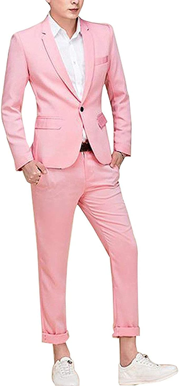 Cloudstyle Men's Suit Single-Breasted One Button Center Vent 2 Pieces Slim Fit Formal Suits