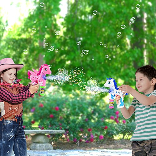 ArtCreativity Unicorn Bubble Blaster with Light and Sound | Includes 1 Bubble Gun & 2 Bottles of Bubble Solution & Batteries Installed, for Girls and Boys (Colors May Vary) by ArtCreativity (Image #4)
