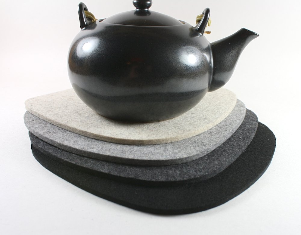 Cobblestone II Merino Wool Felt Trivet Set of 4 by feltplanet
