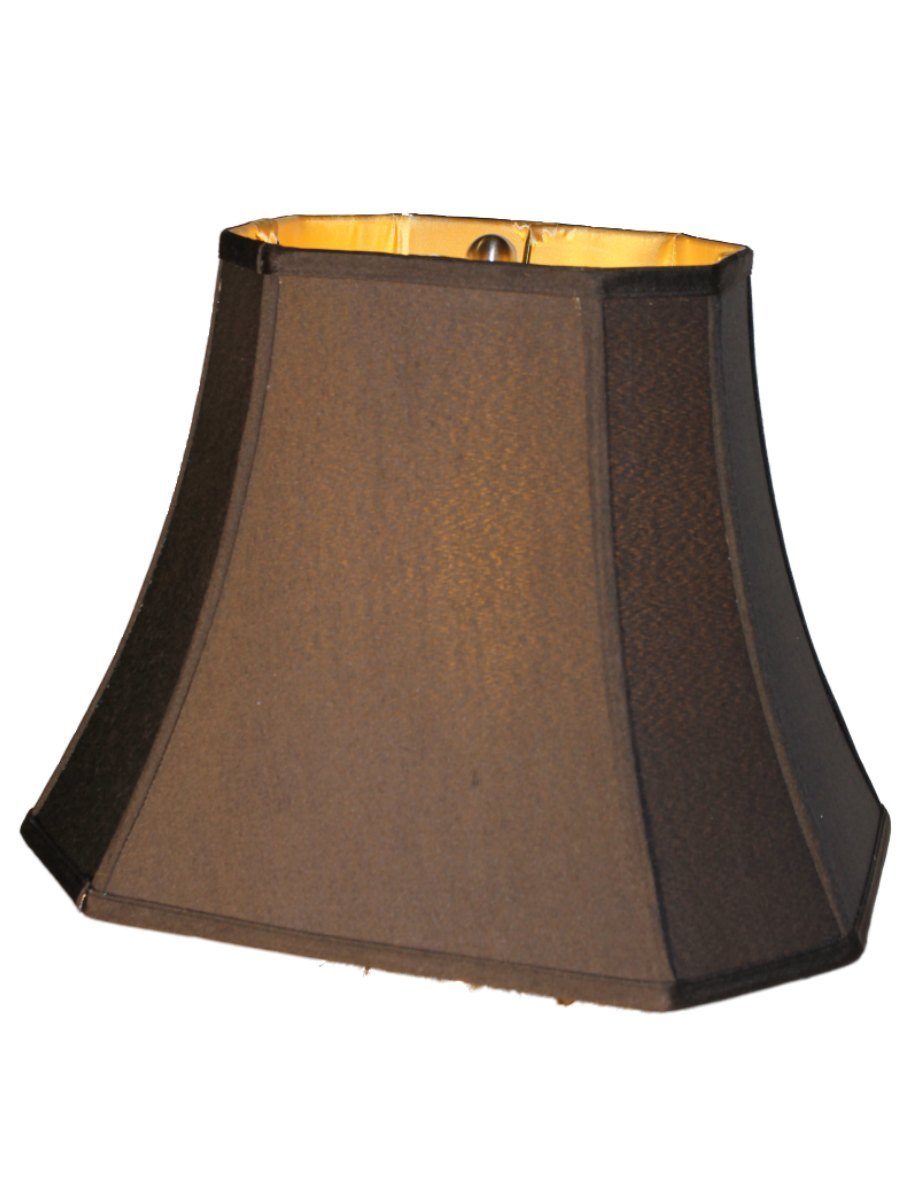 14 inch black silk shantung rectangle shade with cut corner and gold lining lampshades amazoncom