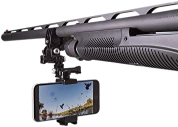 Wide or Fishing Pole Compatible with Thick Cases. Locking Smartphone Mount for Video Recording on Gun Action Mount Bow ATV Sportsman Clamp Works with All Phones up to 3-5//8 92 mm