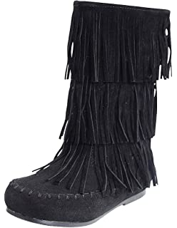 Amazon.com | Link Candice-16Ka Girls Mid Calf 3 Layer Fringe Boots ...