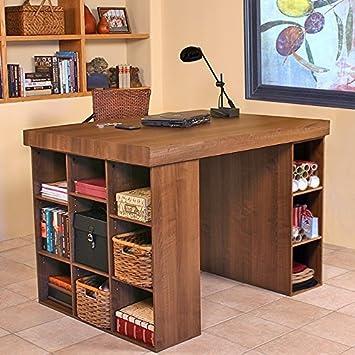 Venture Horizon Project Center Desk With Bookcase And 3 Bin Cabinet Walnut