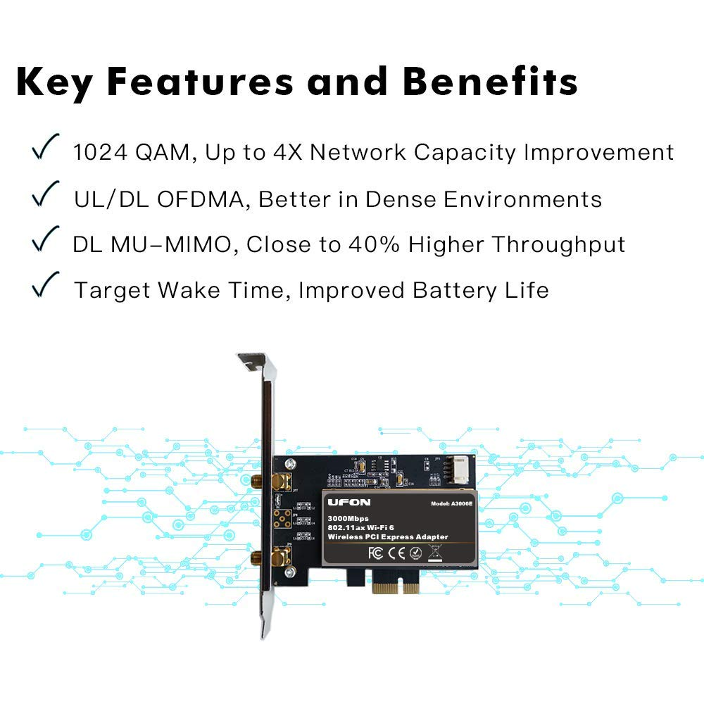 WiFi 6 11AX 2976Mbps PCIe WiFi Card Bluetooth 5.0 Intel AX200 PCIE Adapter 11ax WiFi Card for PC Wireless PCI Card 2x2 Dual Band 11AX OFDMA WLAN PCIE ...