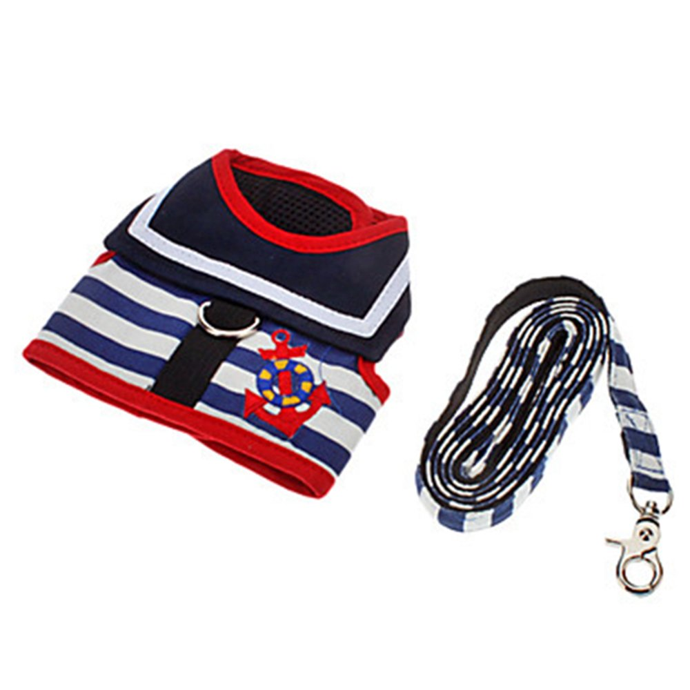 Quick Shopping™ Adjustable Cute Navy Pattern Harness and Leash for Dogs XL