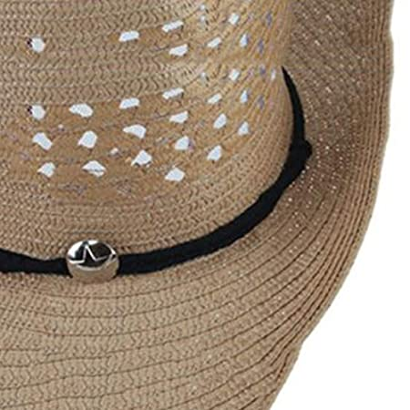 9699ee052b9 FH Summer Men s Sun Hat Mesh Breathable Foldable Western Cowboy Hat Outdoor  Sunshade Female Beach Straw Hat (Color   Blue)  Amazon.co.uk  Kitchen   Home