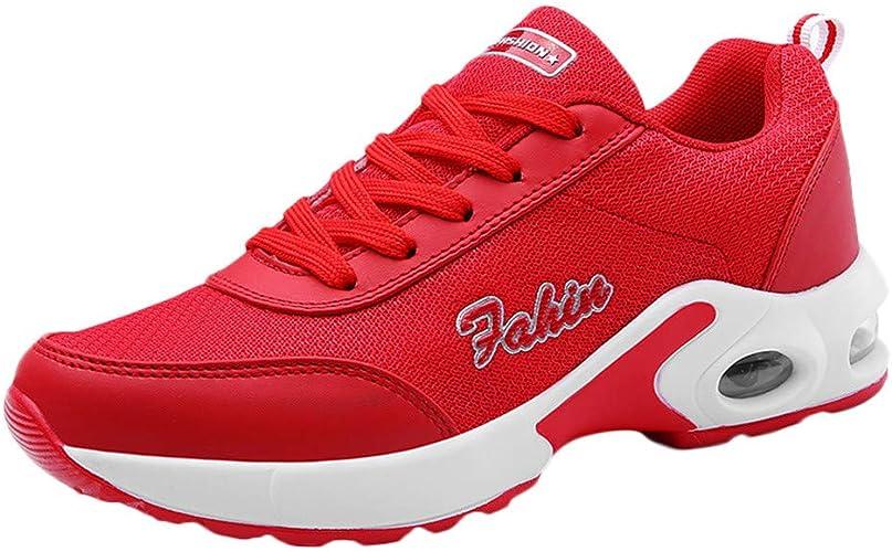 Sylar Zapatillas De Running para Mujer Simple Malla Transpirable Suelas Blandas Cojín De Aire Cómodo Zapatillas De Cordones Zapatillas Casuales: Amazon.es: Zapatos y complementos