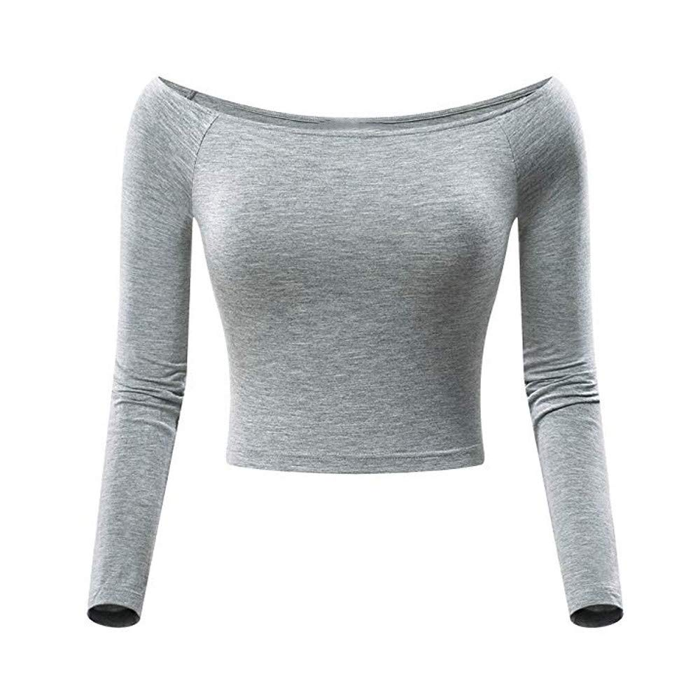 af10c32530 Womens Off-Shoulder Long Sleeve Basic Slash Neck Crop Top Fitted Shirt  (Gray, X-Large) at Amazon Women's Clothing store: