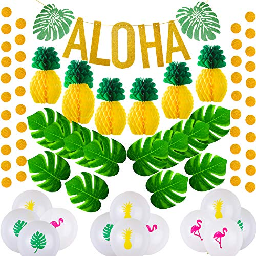 Hawaiian Aloha Party Decorations Set Large Gold Glittery Aloha Banner Circle Dot Garland Tissue Paper Pineapples Artificial Palm Leaves Hawaiian Balloons for Tropical Luau Party Supplies Favors