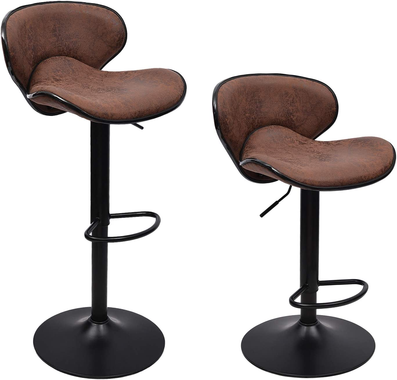 WAYTRIM Adjustable Bar Stools Set of 2 Modern Swivel Barstools Chairs, 360 Degree Swivel Counter Height Chair for Bar Kitchen Indoor Outdoor Use, Retro Brown