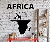BorisMotley Wall Decal Africa Continent Giraffe Vinyl Removable Mural Art Decoration Stickers for Home Bedroom Nursery Living Room Kitchen