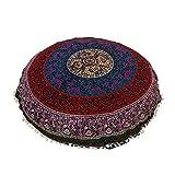 32'' BLUE MANDALA FLOOR PILLOW CUSHION SEATING THROW COVER HIPPIE DECORATIVE Bohemian Boho Indian Ottoman Poufs, Pom Pom Pillow Cases