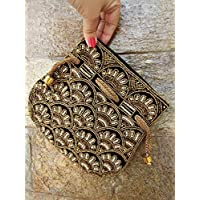 Beautiful Vintage Black Gold Beaded Pouch with chain strap Black Gold antique bead work Potli bag handmade in India by Artcraving