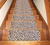 Seloom Carpet Stair Treads Non Slip for Indoor Wooden Steps, Anti Slip Stair Rugs Pads Mat 25.5'x 9.5',(Leopard)