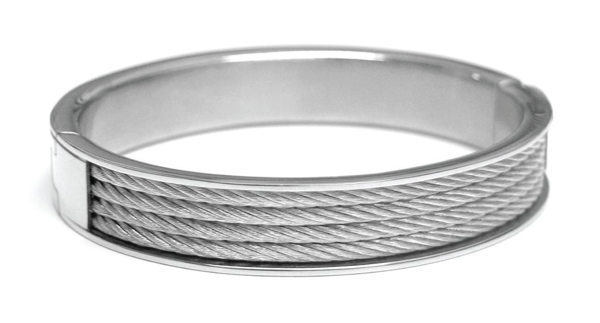 Charriol Forever Young Silver-Tone Cable Bangle Bracelet 04-01-1139-0 Medium Unisex Jewelry