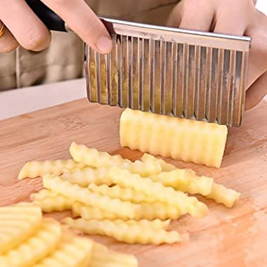 Potato Cutter - Stainless Steel Wavy Edged Cut Tool Kitchen Gadget Vegetable Fruit Cutting (Black)