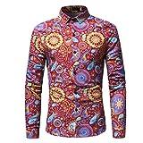 Hot ! Yang-Yi 2018 Fashion Men Slim Long-Sleeved Printed Shirt Daily Tops (Red, S)