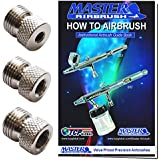 """Master Airbrush Brand Airbrush Fitting Conversion Adapters for Paasche, Badger & Aztec Airbrushes; Converts Threads Size to 1/8"""" BSP Size Threads; Hose Adapter Connector; Airbrush Guide Booklet"""