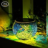 glass ball table lamp - Solar Glass Ball Table Lamp Mosaic Lights 2 Pack Waterproof Night Light for Home, Garden, Patio Decoration,Ideal Gifts (Multicolor)