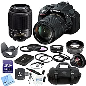 Nikon D5300 24.2 MP CMOS Digital SLR Camera with 18-140mm f/3.5-5.6G ED VR AF-S DX NIKKOR Zoom Lens + Nikon AF-S DX VR Zoom-Nikkor 55-200mm f/4-5.6G IF-ED Lens + CS Pro Lens Package: Includes 64GB SDHC Memory Card, SD Card Reader, ENEL14 Replacement Battery, High Definition Wide Angle Lens, 2x Telephoto HD Lens, 4 Piece Macro Lens Set, 3 Piece Filter Kit, 2 UV Filters, Tulip Lens Hood, Cap Keeper, Professional Carrying Case, Cleaning Pen, Starters Kit & CS Microfiber Cleaning Cloth